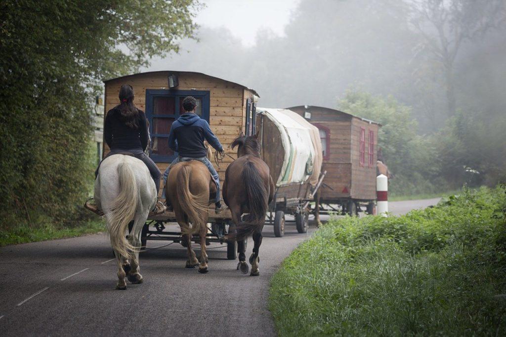 roulottes et chevaux